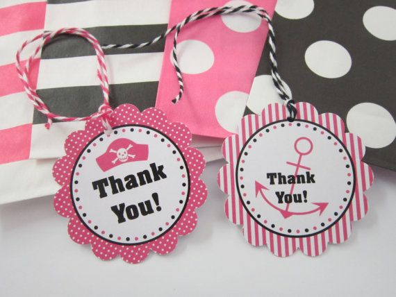 12 Pink & Black Girl Pirate Thank You Tags by DKDeleKtables, $3.00