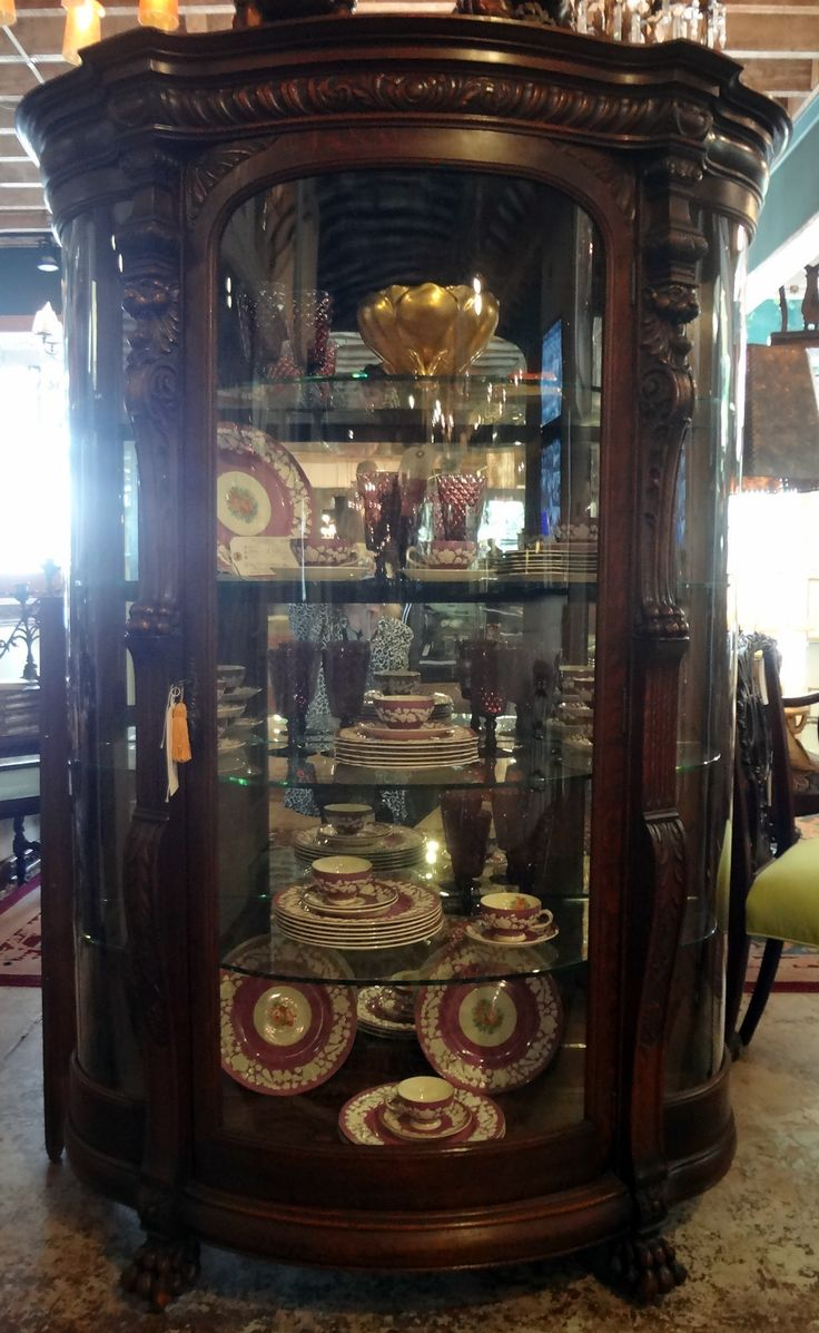 Turn of the Century R.J. Horner Carved China Cabinet w/Mirrored Back & Glass Shelves - All Original - ID# 2044 - $4,800.00 (Shauna Novotny) #antiques #cabinets
