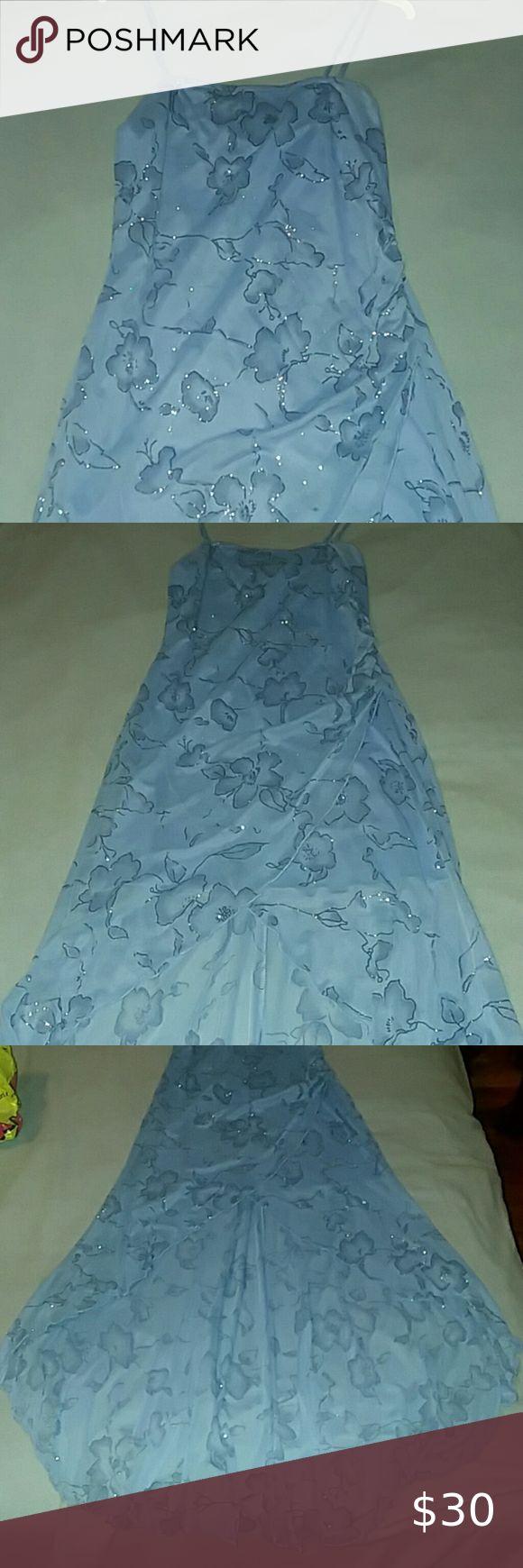 Feb 24, 2020 – Blue sparkly flower hi-low formal dress Beautiful blue with sparkly flower detailing, hi-low, spaghetti s…