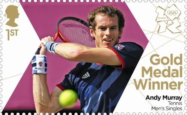 Team GB Gold medal stamps. Andy Murray