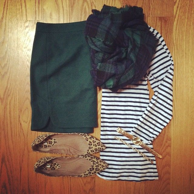 Striped Top, Pencil Skirt, Blackwatch Plaid Blanket Scarf, Leopard Flats | #workwear #officestyle | work chic