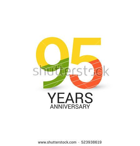 95 Years Anniversary Colorful and Simple Design Style. Logo Celebration Isolated on White Background