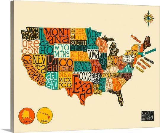United States Map Canvas Wall Art.Illustrated Map Of The United States Of America With The Name Of