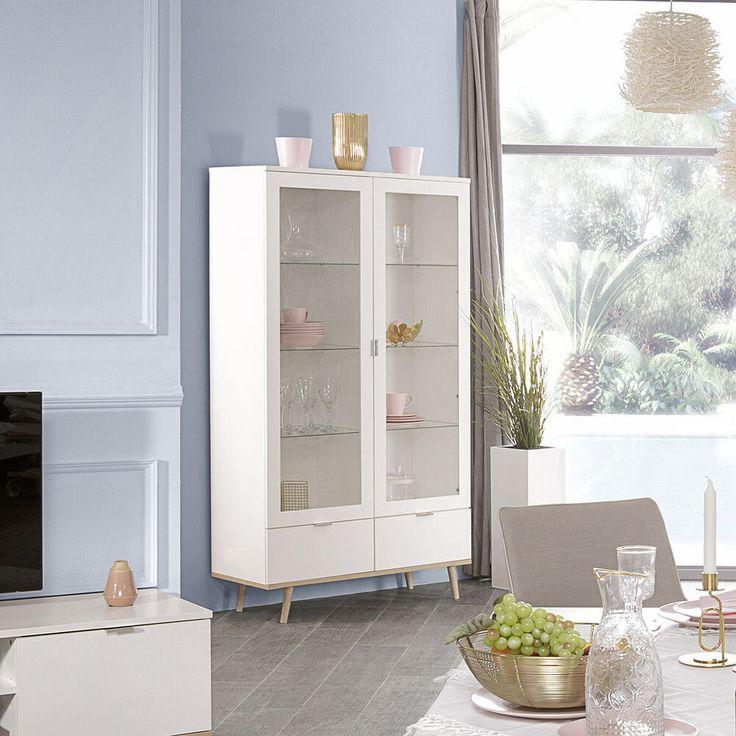 Vitrine Goteborg Schrank Buffet Weiss Und Sonoma Eiche Skandinavisches Design Buffet Weiss Skandinavisches Design Design