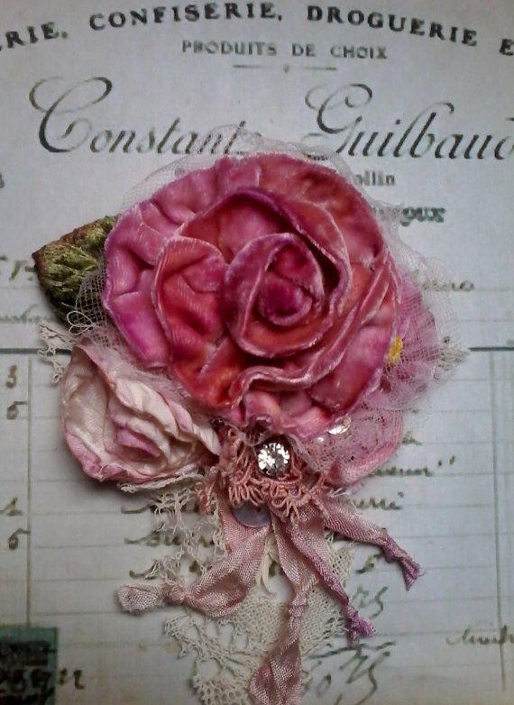 viktorianische, shabby Chic, Brosche, Corsage, Haar-Accessoire, samt, Blumen…