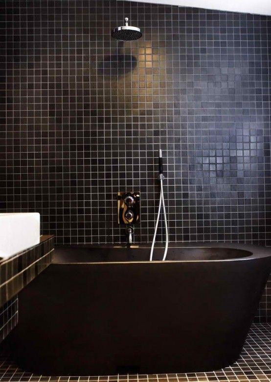 All Black Bath Shower Tile Tub