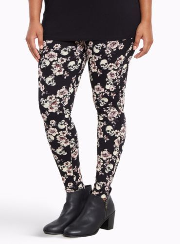 TORRID PLUS SIZE 5 5X 28 SUGAR SKULL LEGGINGS STRETCH PANTS BOTTOMS FLORAL 4X