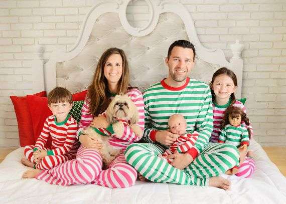 Personalized Monogrammed Striped Christmas by PeachFuzzGifts. I legitimately desire matching pajamas for my whole family. It would be colossally grand.