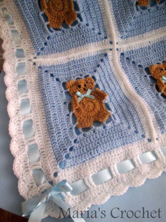 Crochet Pattern Afghan Blanket teddy bear US by CuteBoldness