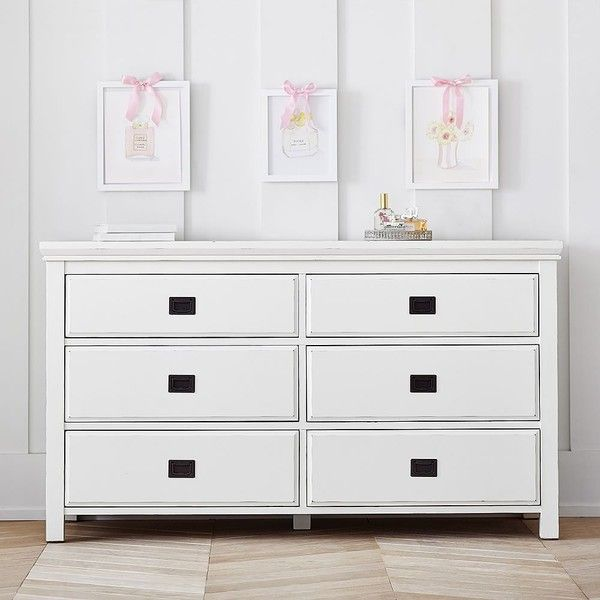 PB Teen Oxford 4 Drawer Dresser, Antique White at Pottery Barn Teen -... (1,055 CAD) ❤ liked on Polyvore featuring home, furniture, storage & shelves, dressers, antiqued white furniture, pbteen furniture, cream dresser, beige furniture and off white dresser
