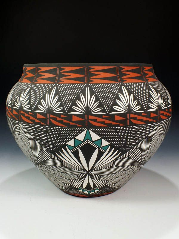I would never tire of looking at this. Gosh, the time and talent it must have taken! -- ACOMA PUEBLO POTTERY BY JAY VALLO