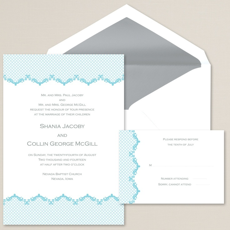 Love Revealed Wedding Invitation (available in other colors) | #exclusivelyweddings | #lightbluewedding