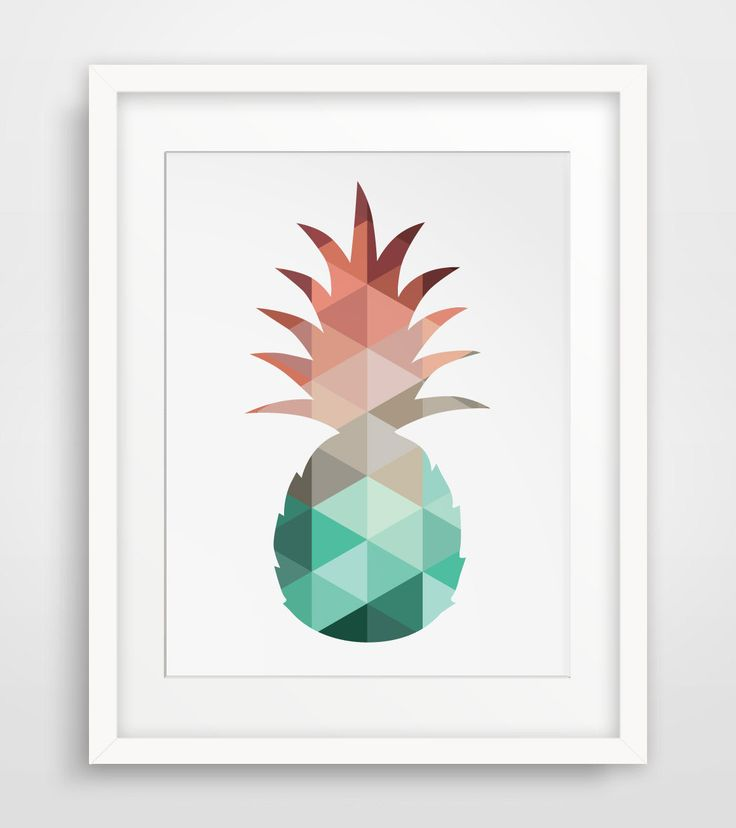 Pineapple Print, Mint and Coral, Pineapple Art, Summer Art, Summer Print, Mint…