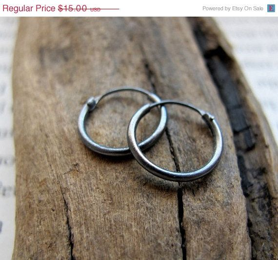 Small Dark Silver Hoop Earrings for Men Unisex by NadinArtDesign, $13.50