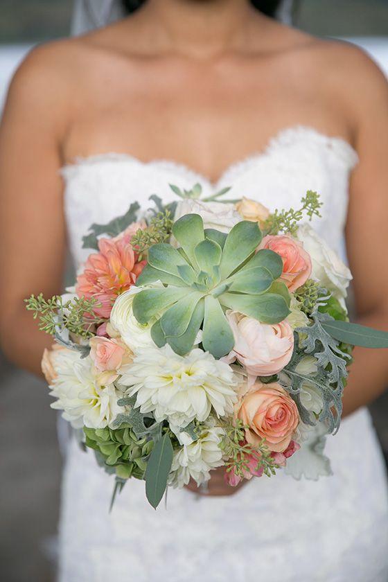 Green Succulent and White Dahlia Bouquet