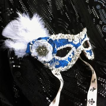 Leather and Blue Brocade Masquerade Mask (Eye Mask) by Daragallery for $28.00 #zibbet