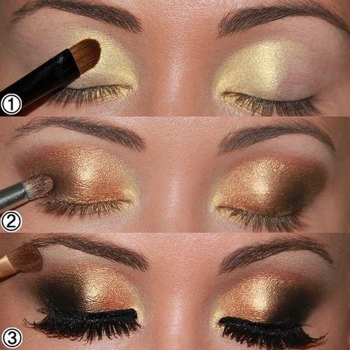gold smokey eyes: Makeup Tutorials, Makeup Ey, Smokey Eyes, Eyes Shadows, Dramatic Eyes, Black Gold, Gold Eyes, New Years, Eyes Makeup