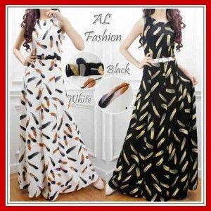 Maxi Long Dress Remaja Motif Bulu