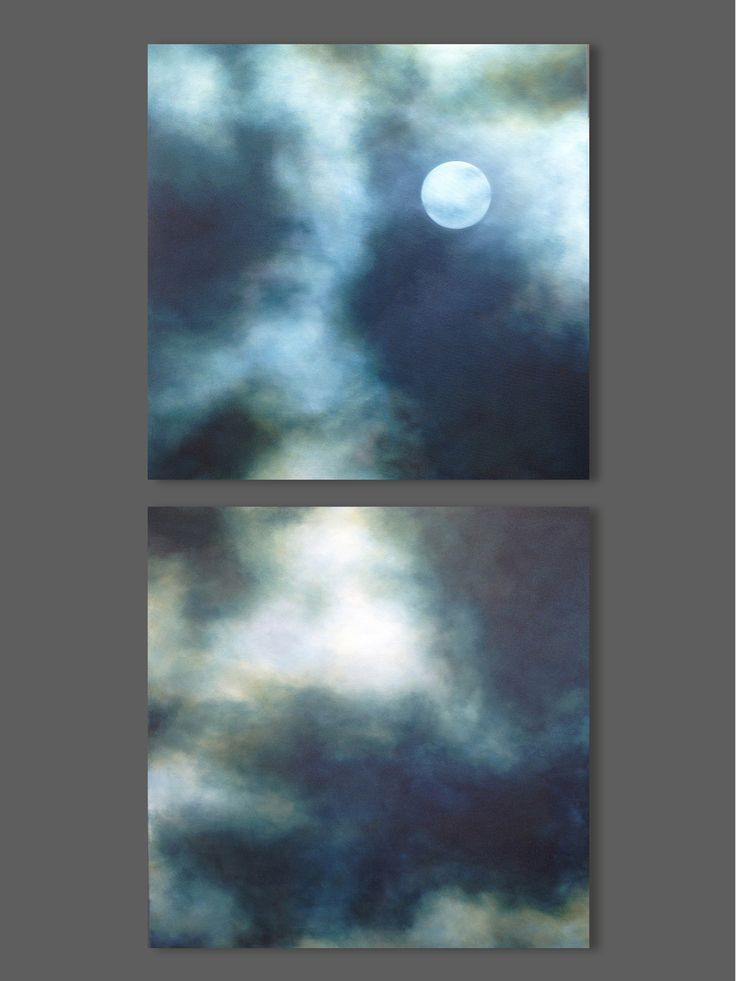 Moon painting, night sky painting, large vertical diptych, cloud painting. view more at sharonkingston.com
