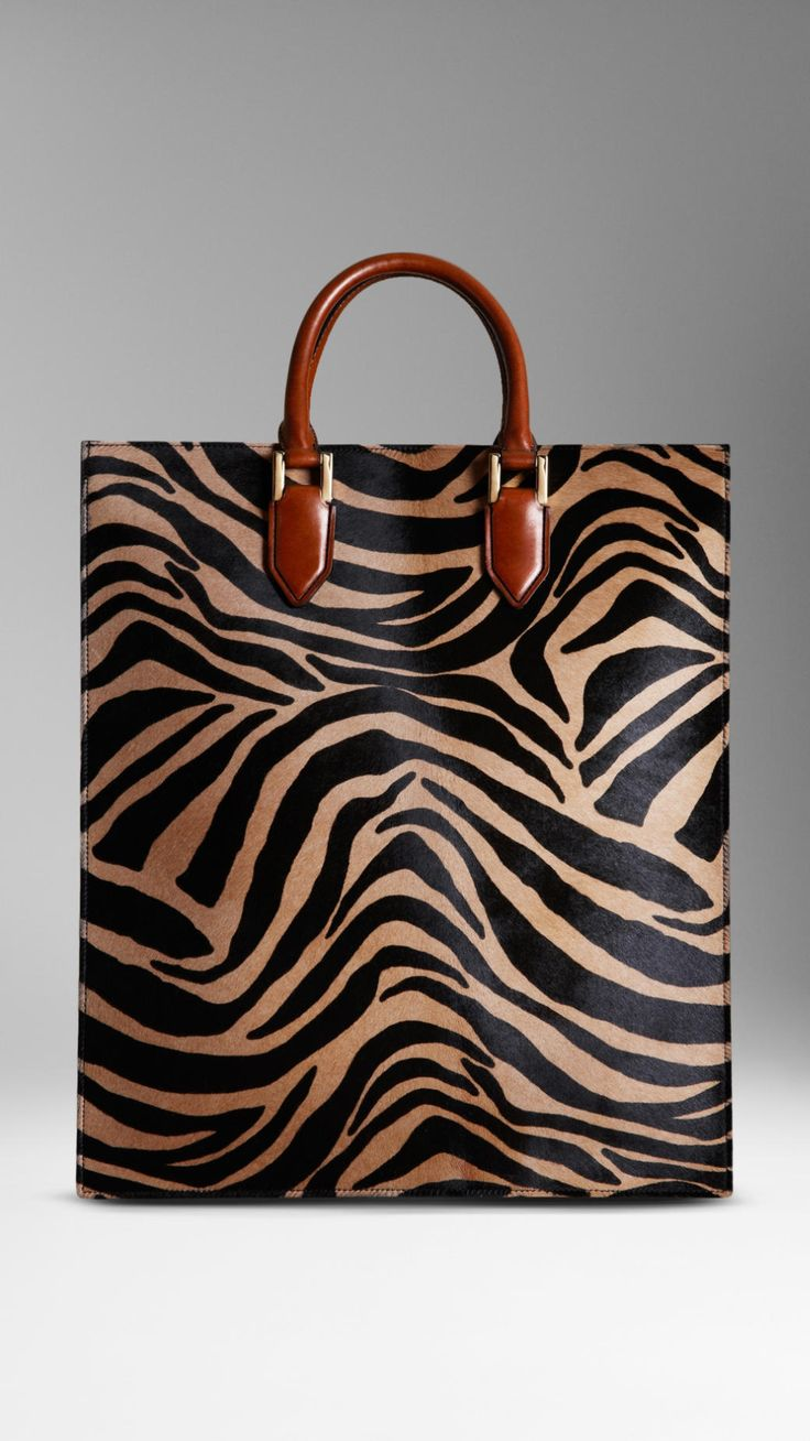 Striped Animal Print Tote Bag | Burberry