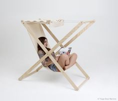 Double X chair - Not usually a fan of contraption-y chairs - just remember how pinch-y Grandma's yard chairs were...but this has an AWNING!!!!!