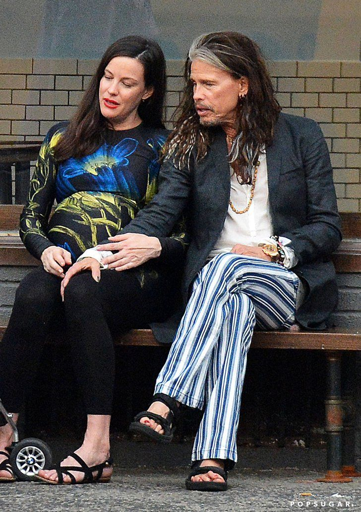 Pin for Later: Steven Tyler Sweetly Rubs Daughter Liv's Growing Baby Bump in NYC
