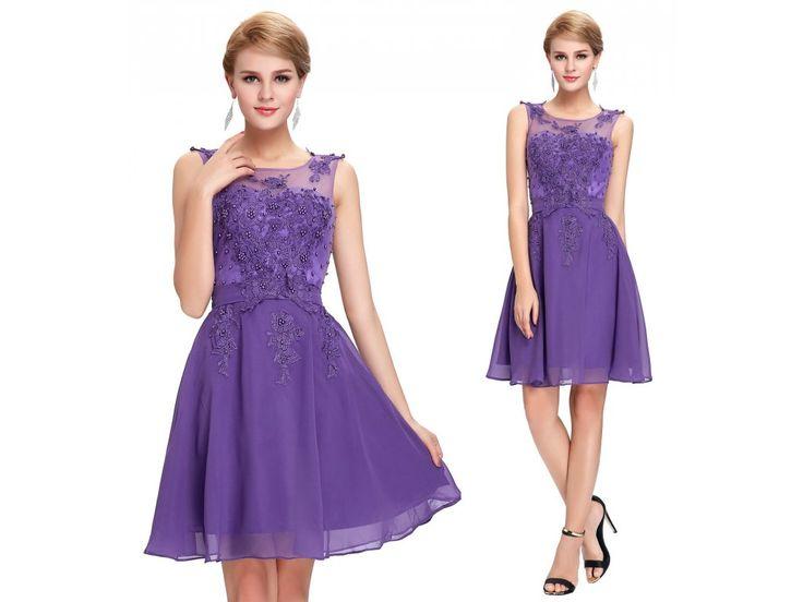 Fialové koktejlové šaty s perličkami, SKLADEM - Bestmoda - purple prom homecoming dress with pearls and embroidery