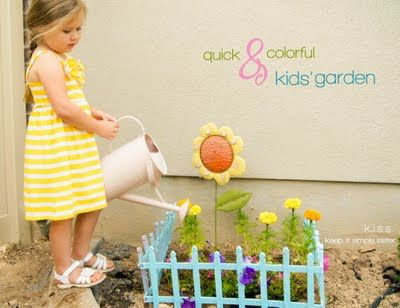 Simple Kid's Garden Plot using Dollar Store Materials: K.I.S.S. {Keep It Simple, Sister}: Quick and Colorful Kids' Garden