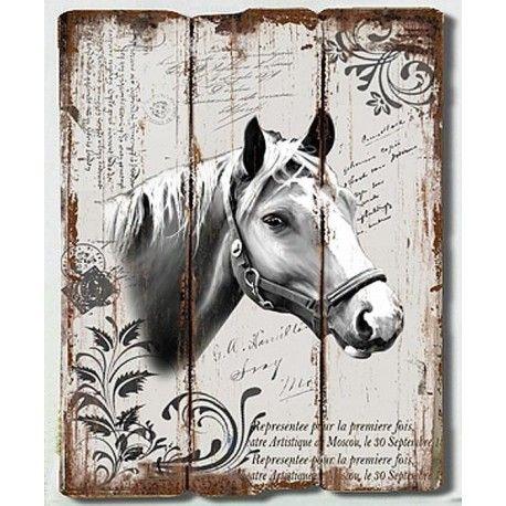"""En fantastiskt fin tavla av sammansatta """"träplankor"""" skivmaterial med hästmotiv och fransk text."""