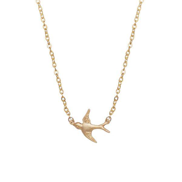 MINNIE GRACE gold Swallow charm necklace | La Luce