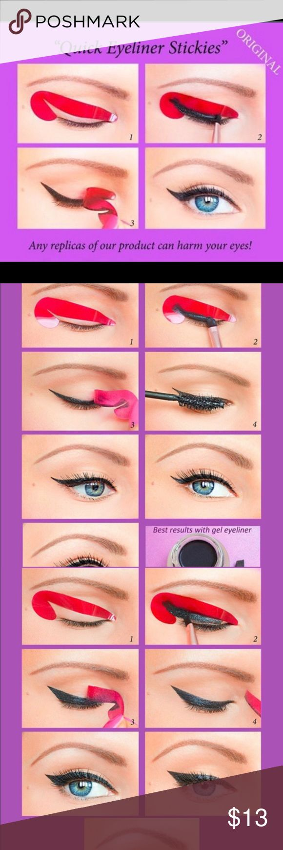 💙24 Pcs Quick Eyeliner Stickies Stickers Quick Eyeliner Stickies  are designed to save your time and efforts and make the eye make-up application even more fun! Each stickie is small and compact. In each  Quick Eyeliner Stickies -set you will find a step-by-step guide with photos and Stickies of different shapes, which will help you create the 6 most popular and trendy Eyeliner looks: -Classic Eyeliner -Thin Eyeliner -Bold Eye Eyeliner -Extravagant Eyeliner -Double Eyeliner -Fish Tail…