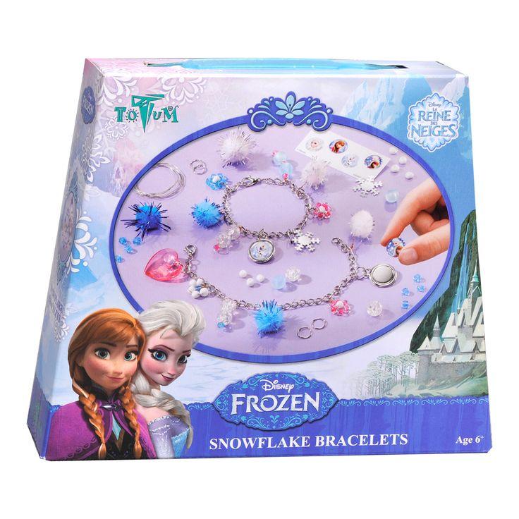Disney Frozen Snowflake Armbanden Maken Afmeting:verpakking 18 x 15 x 3,5 cmInclusief 2 schakelarmbandjes, diverse kleuren glaskralen, diverse ponpons, hartvormige kraal, diverse gekleurde kunststof kralen, 2 ronde metalen bedeltjes, Frozen ijsster paillet, 3D stickervel, metalen draad, metalen ringetjes en instructies. - Disney Frozen Snowflake Armbanden Maken