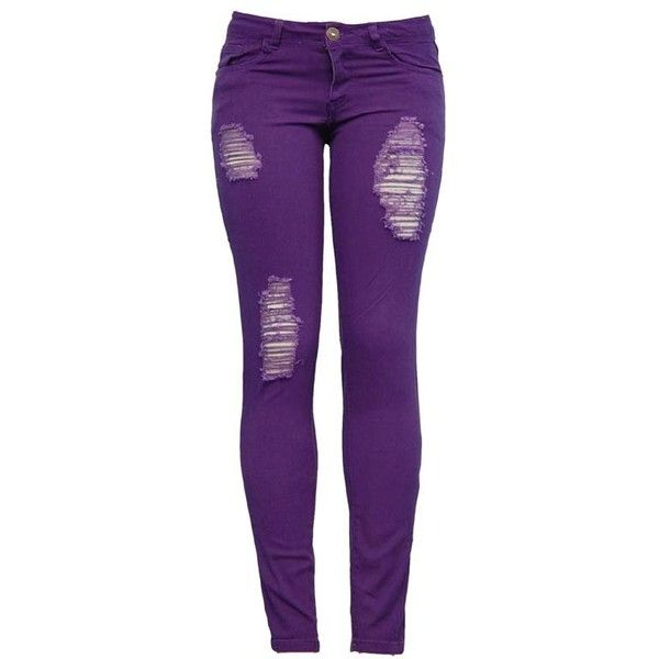 Distressed Purple Skinny Jeans Juniors Clothing