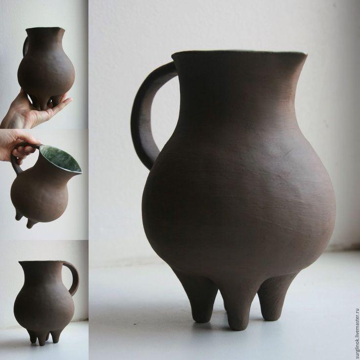 Купить Кувшин - коричневый, кувшин, Керамика, керамика ручной работы, керамическая посуда, глиняная посуда