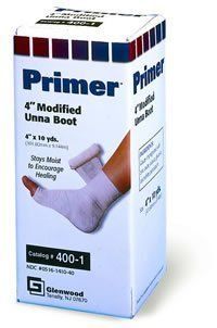 "DERMASCIENCES Primer Modified Unna Boot Dressing 4"" x 10 yd Case: 12 by Western Medical. $106.48. Safe and effective treatment for leg diseases such as venous stasis leg ulcers and lymphatic edema.. Case: 12. 4"" x 10 yd. 100% soft cotton gauze impregnated with nonhardening zinc oxide paste.. DERMASCIENCES. Primer® Modified Unna Boot Dressing DERMASCIENCES 100% soft cotton gauze impregnated with nonhardening zinc oxide paste. Safe and effective treatment for leg disea..."