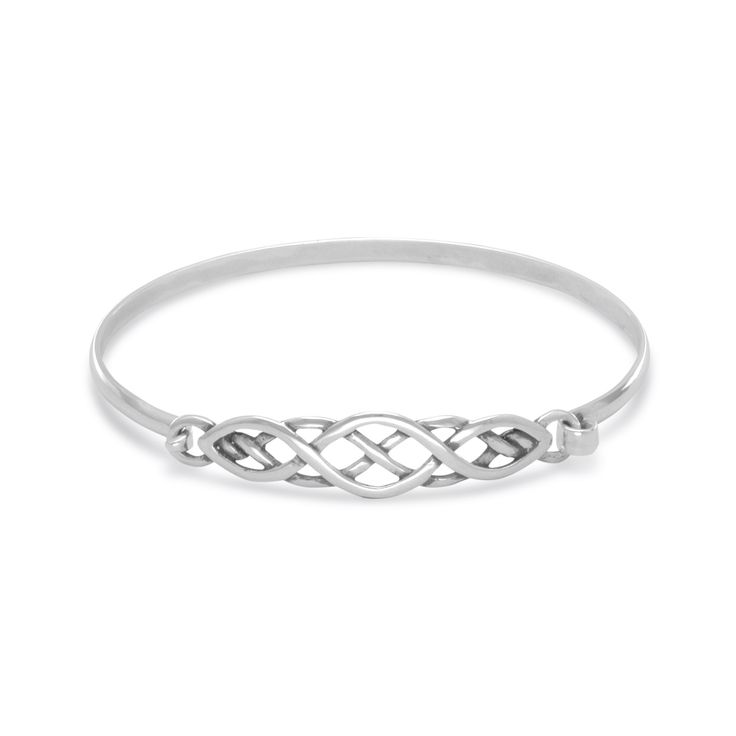 You are sure to love the exceptional quality of our Sterling Silver Celtic Knot Bangle Bracelet.  Crafted of genuine, solid sterling silver. Bangle will fit most adult wrists.  One side of the bangle