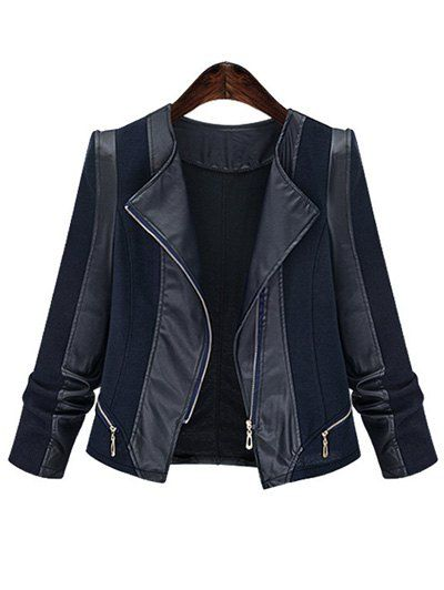 Chic Zipped Leather Patchwork Women's Jacket - BLACK 4XL