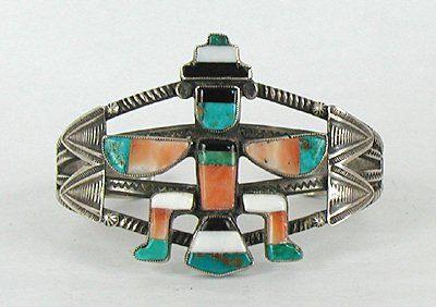 Authentic Vintage Native American Sterling Silver Zuni Split Shank Inlay Knifewing Bracelet