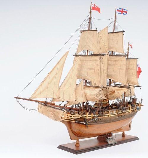 "HMS Bounty Wooden Tall Ship Model 37"""" Sailboat William Bligh Boat"