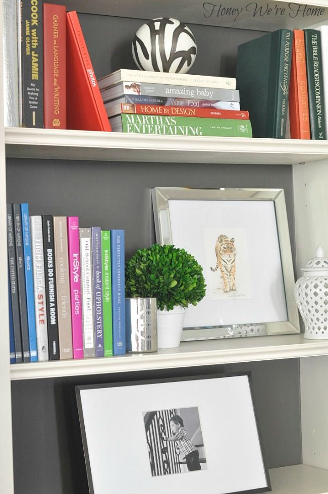 Painted Media Cabinet and bookshelf styling