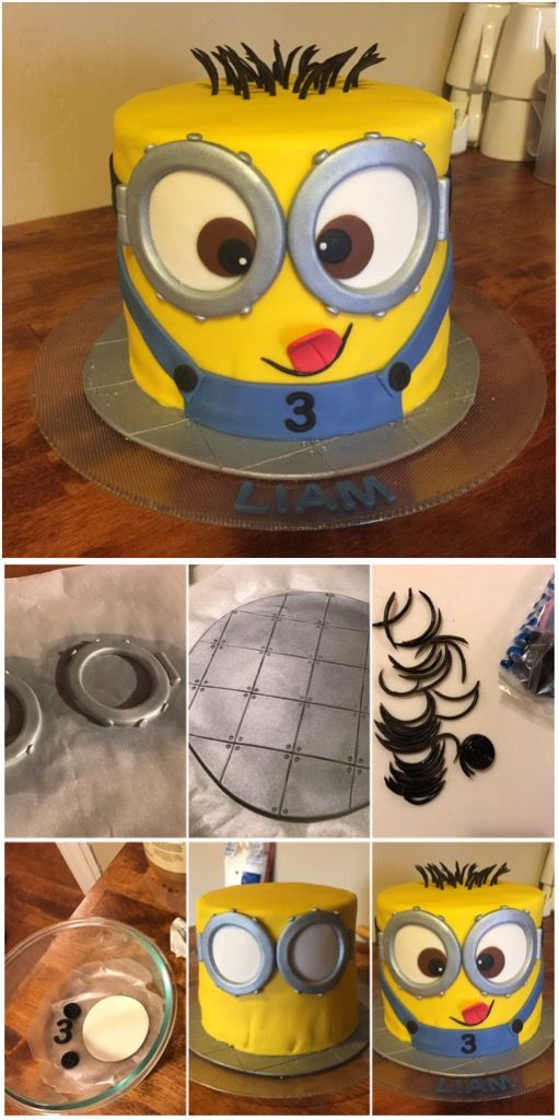 Minion cake! You can see my fondant smoothing wasn't perfect, but once all the pieces came together you couldn't tell. Used lace licorice for the hair, and silver food spray to make items look like metal.