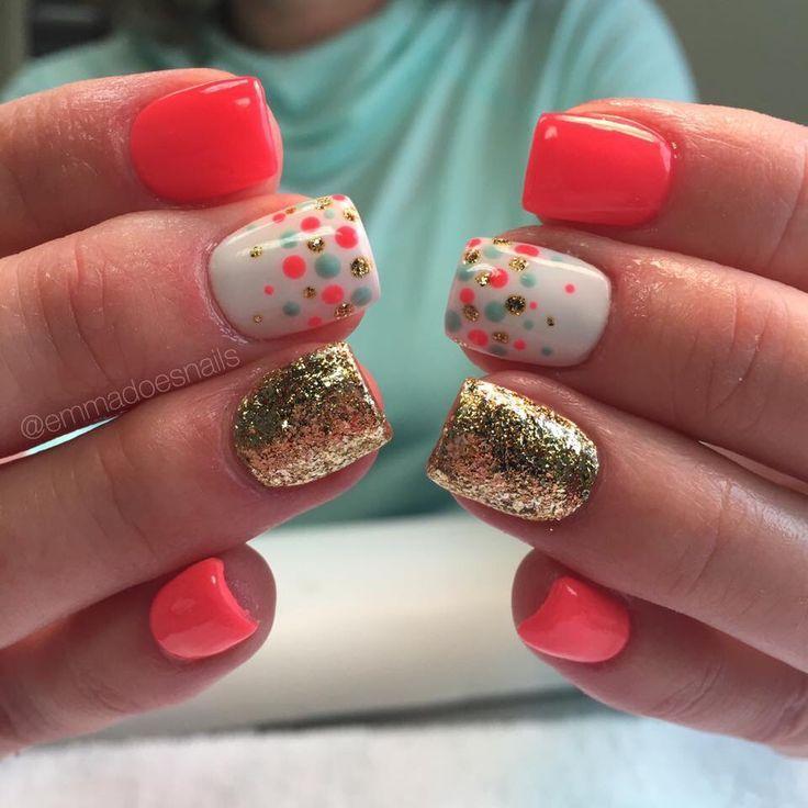 cool Bright nails confetti nails polka dot nails gold nails glitter nails coral nails...