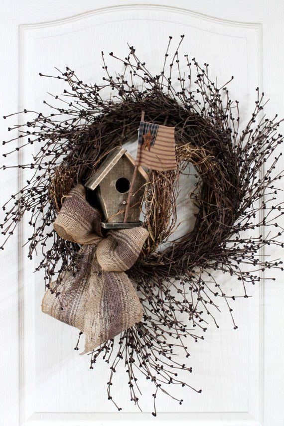 Primitive Americana Pip Berry Door Wreath...with birdhouse, flag & burlap bow.