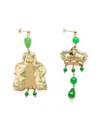 Uomolebole Earrings for Women, Gold, Silk, 2017, One Size