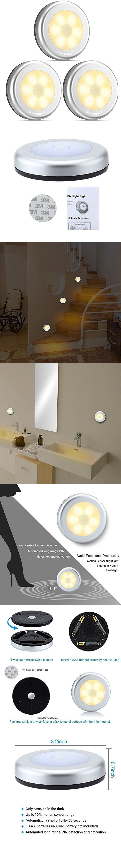 URPOWER Motion Sensor Light, Motion-sensing Battery Powered LED Stick-Anywhere Nightlight,Wall Light for Entrance,Hallway,Basement,Garage,Bathroom,Cabinet,Closet
