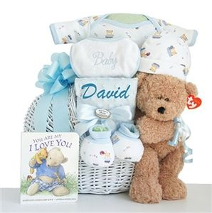 Sweet Baby Boy Gift Basket  - http://www.gotobaby.com/ - Welcome the sweet baby boy with this adorable unique baby boy gift basket.