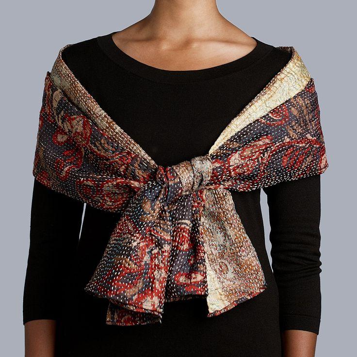 Stitched Silk Sari Scarf, Ten Thousand Villages