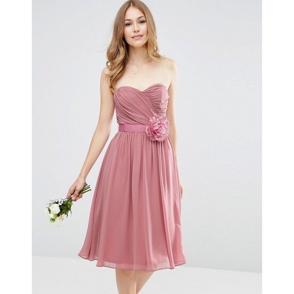 ASOS WEDDING Chiffon Bandeau Midi Dress with Detachable Corsage (250 ILS) ❤ liked on Polyvore featuring dresses, wedding dresses and pink