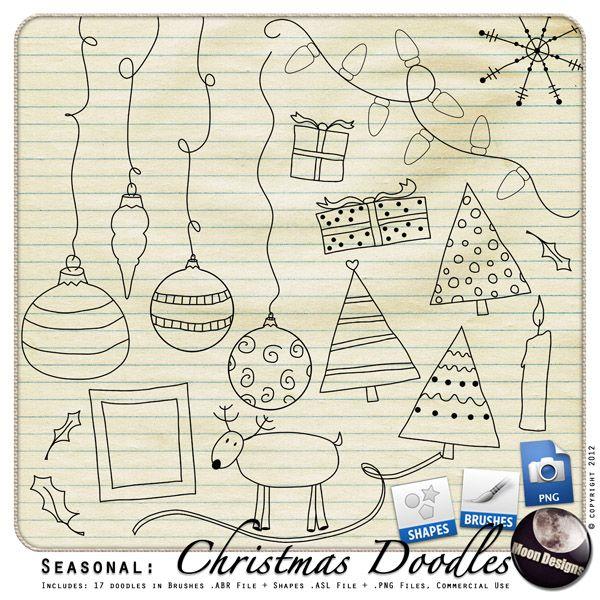 Seasonal: Christmas Doodles by MoonDesigns , cudigitals.com, digital, scrap, scrapbook, graphics, commercial,