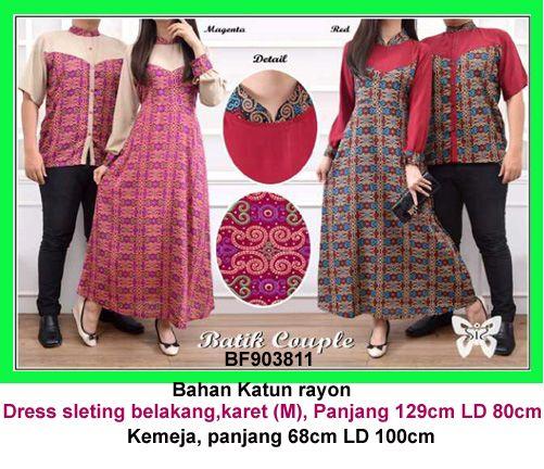 Baju Gamis Modern Terbaru - Detail produk model Gamis Batik Couple 811: Bahan :Katun Rayon Kode : BF903811 Ukuran : Dressfit to M, panjang 129cm LD80cm Ukuran : Kemeja, panjang 68c